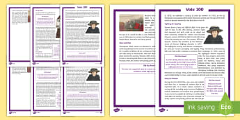 KS2 Vote 100 Differentiated Reading Comprehension Activity - Suffragettes, Parliament, Election, Suffrage, Equality, Democracy