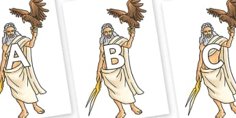 A-Z Alphabet on Zeus - A-Z, A4, display, Alphabet frieze, Display letters, Letter posters, A-Z letters, Alphabet flashcards