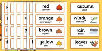 Autumn Topic Word Cards Polish Translation - polish, autumn, topic, words