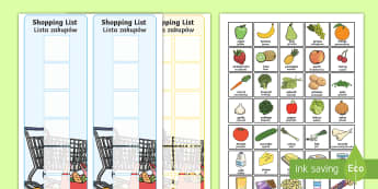 Shopping Lists and Food Cards English/Polish - Shopping Lists and Food Cards - shopping list, shopping, shop, list, food, cards,shoppinglist,grocer