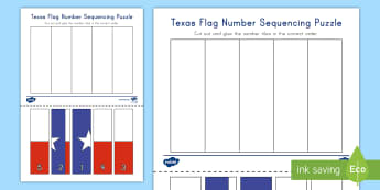 Texas Flag Number Sequencing Puzzle -  number order, texas symbols, number skills, Cutting Skills, Cut and paste, Rote Counting