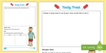 Foundation Tasty Treat Collecting Data Activity Sheet - Australian Curriculum Statistics and Probability, Worksheet, data representation and interpretation,