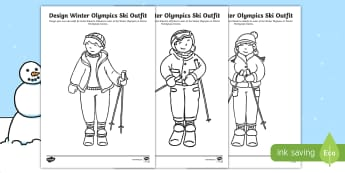 KS1 Design Winter Olympics Ski Outfit Activity Sheet - Olympic Games, Sportswear, Sport Suit, Winter sports, Skiing, worksheet