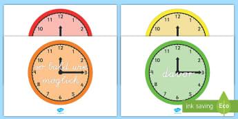 Temporale Konjunktionen auf Uhren Poster für die Klassenraumgestaltung - Konjunktionen, Temporalkonjunktionen, temporal, temporale, Grammatik, Vokabeln, lernen, schreiben, l