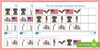 Patriotic Symbols Differentiated Complete the Pattern Activity Sheet - math, patterns, patriot symbols, 9/11, september 11th, patriot day, patriot day patter, pre-k math,