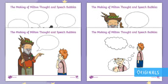 The Making of Milton Thought and Speech Bubble Activity Sheets - courage, story, EYFS, KS1, thought bubble, speech bubble, writing, inference, twinkl fiction, twinkl