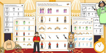 Cinderella Size Matching Worksheets - cinderella, size, matching