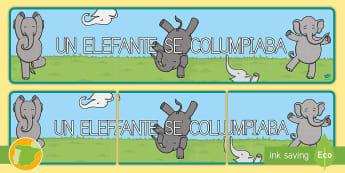 Pancarta: Un elefante se columpiaba - Canción, Tradicional, Animales, Contar, Numeración