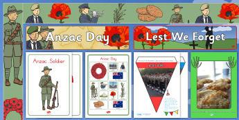 Anzac Day Display Pack - ANZAC Day - 25 April, poppies, veterans, Australia