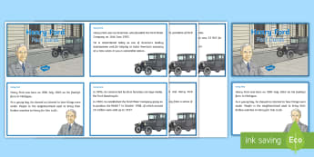 Henry Ford Fact Cards - World Around Us KS2 - Northern Ireland, Ford, Transport, travelling, engineer, engineering, producti - Transport, travelling, engineer, engineering, production, cars, automobiles, American,