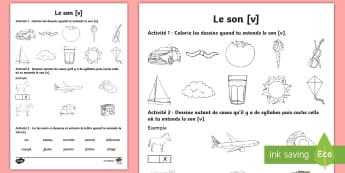 Feuille d'activités : Le son [v] - Son [v], Lecture, Français, Cycle 2, Cycle 1, Reading, Sound,French