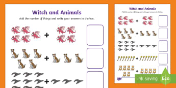 Witch and Animals Up Addition Sheet to 20 - room on the broom, up to 20, addition sheet, addition, plus, adding, addition worksheet, themed addition