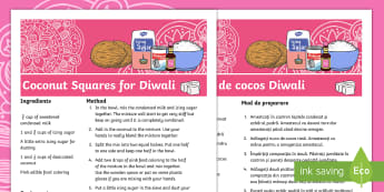 Coconut Ice Squares Diwali Recipe Romanian/English  - festivals, celebrations, recipe, diwalli, dwali,