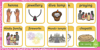Diwali Matching Vocabulary Snap Cards Activity - ESL Diwali Vocabulary