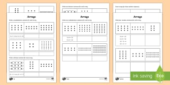 Year 2 Maths Arrays Homework Activity Sheet - year 2, maths, homework, multiplication, division, arrays, number facts, Worksheet, related numbers,