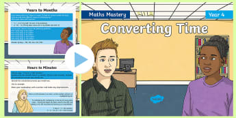 Year 4 Solve Problems Converting Time Maths Mastery PowerPoint - Reasoning, Greater Depth, Abstract, Problem Solving, Explanation
