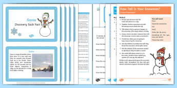 Snow Discovery Sack - EYFS, Early Years, KS1, Key Stage 1, snow, winter, seasons, weather, snowman, snowflakes, ice