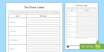 The Great Lakes Writing Frames - Great Lakes, regions, geography, lakes, bodies of water, lake erie, lake superior, lake michigan, la