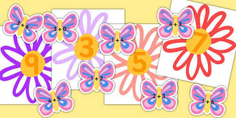 Butterfly and Flowers Addition Activity - flowers, addition, add
