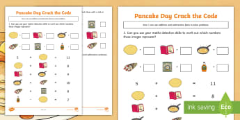 KS1 Pancake Day Crack the Code Activity Sheet - Solve, Addition, Subtraction, Problem, Challenge, Worksheet