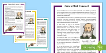 Scottish Scientist James Clerk Maxwell Differentiated Fact File - CfE, Scotland, Scottish, Science week, significant individuals, famous Scots, people in past societi
