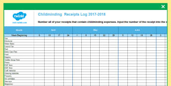 Childminder Weekly Receipts Log Spreadsheet - child minder, accounts, accounting, HMRC, tax,