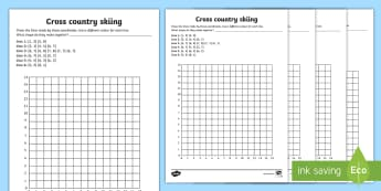 LKS2 Winter Olympics Coordinates Activity Sheets - worksheet, Rings, ski, Snowboard, Ice Skate, Bobsleigh, plotting, position