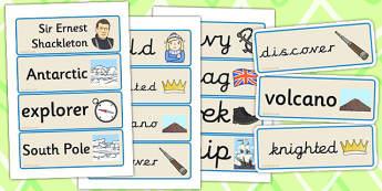Ernest Shackleton Word Cards - ernest, shackleton, word cards