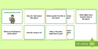 Year Two Inquiry Question Cards - KS1 Geography, Australia, investigation, geography skills