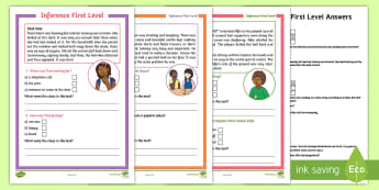 CfE First Level Inference  Worksheet / Activity Sheet - CfE First Level Inference Worksheet / Activity Sheet, first level inference, reading comprehension, using clues