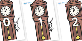 Numbers 0-50 on Clocks - 0-50, foundation stage numeracy, Number recognition, Number flashcards, counting, number frieze, Display numbers, number posters
