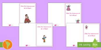 Tarjetas: Día Internacional de la Mujer - tarjetas, tarjetas para colorear, día de la mujer, 8 de marzo, español