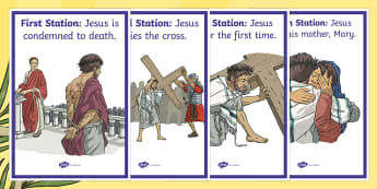 Stations of the Cross Display Posters - Lent, Easter, Stations of the cross, religion, christian,Irish