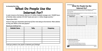 What Do People Use the Internet For? Activity Sheet - amazing fact a day, activity sheet, activity, activities, internet, worksheet