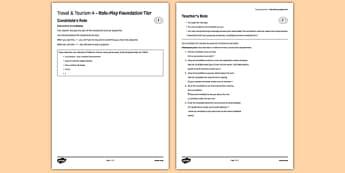Les voyages & le tourisme 4 Jeu de rôle Foundation Tier - gcse, french, topic, speaking, oral, practice, practise, roleplay, travel, tourism