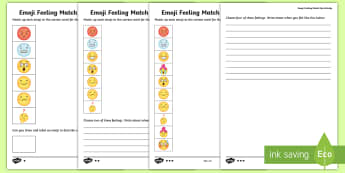 KS1 Emoji Feelings Match Up Differentiated Activity Sheets - emotions, PSHE, all about me, emojis, matching, worksheets, feelings,