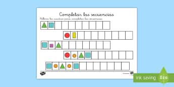 Ficha de actividad: Completar las secuencias - Figuras y colores - secuencia, secuencias, repetir, repetición, patrón, patrones, completar, mates, matemáticas,figur