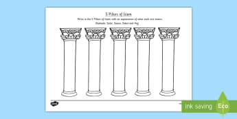 Pillars of Islam Worksheet - religion, religious studies, muslim