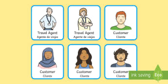* NEW * Travel Agents Role-Play Badges - English / Spanish - Travel Agents Role Play Badges - travel agents role play, role play travel agent, role play badges,