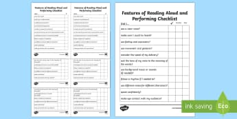 Features of Reading Aloud and Performance Checklist - reading, aloud