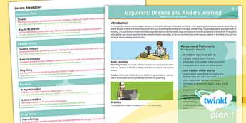Explorers: Dreams & Anders Arnfield Y6 Overview - Anders Arnfield, myths and legends, dreams, discussion texts, argument text, debate language, blog, social media
