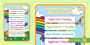 Days of the Week Display Poster English/Welsh - Bilingual Welsh and English Displays, Incidental Welsh, displays, days of the week, dyddiau'r wythn