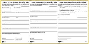 Letter to the Author Differentiated Worksheet / Activity Sheet Pack-Irish, worksheet