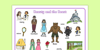 Beauty and the Beast Word Mat - traditional tales, visual aids