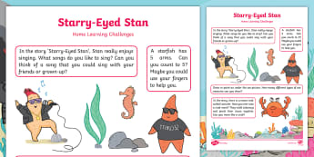 Starry-Eyed Stan Home Learning Challenges Nursery FS1 - Twinkl Originals, Fiction, under the sea, seaside, beach, oceans, Early Years, EYFS, homework, home
