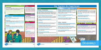 Our Teachers Are Superheroes KS2 Curriculum Links - Topic web, cross curricular, learning opportunities, Key Stage 2, KS2, Core, Non-Core, Our teachers