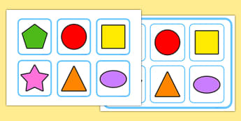 Shapes Matching Cards and Board - shapes, matching cards, board, matching