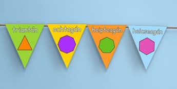 2D Shape Display Bunting Gaeilge - roi, irish, gaeilge, 2d shape, display, bunting
