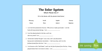 Which Planet Am I? Worksheet / Activity Sheet - Outer Space, solar system, planets, sun , galaxy, space