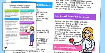 Encouraging Expressive Language in the Classroom Strategy Sheet